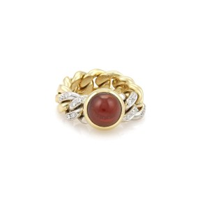 Pomellato 3.18ct Garnet & Diamonds 18k Two Tone Gold Chain Band Ring Size 5