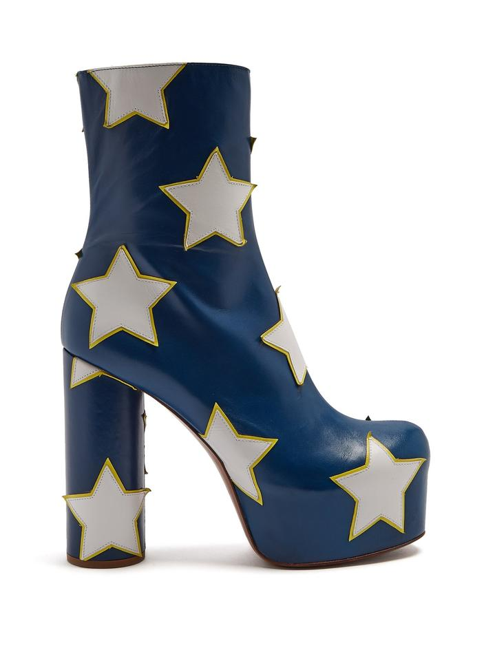 cdede61f213c Vetements Blue Star Appliqué Block Heel Leather Ankle Boots Booties ...