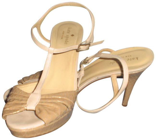 Item - Ivory Made In Italy Snakeskin Embossed Platform Sandals Heels Formal Shoes Size US 8.5 Regular (M, B)