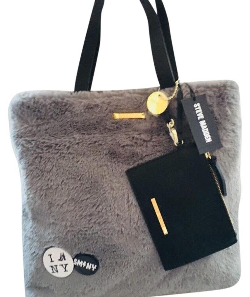 fd820976fc7 Steve Madden Btee with Pins Gray Faux Fur Tote - Tradesy