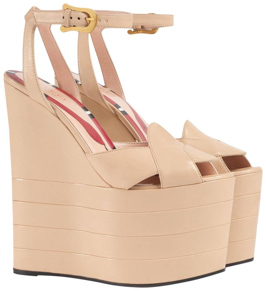 c87db31975c9 Gucci Sally Leather Platform Wedges Size EU 38.5 (Approx. US 8.5 ...