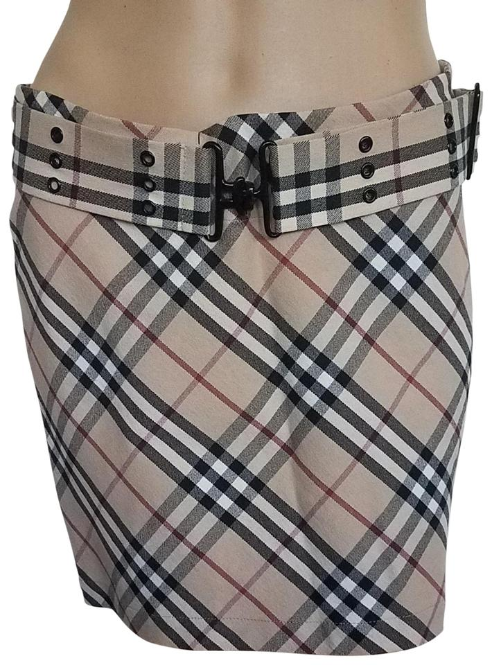 3fb54a798 Burberry Nova Check Plaid Pleated Cotton Belted Mini Skirt Beige, Black,  Red Image 0 ...