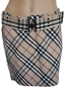 Burberry Nova Check Plaid Pleated Cotton Belted Mini Skirt Beige, Black, Red