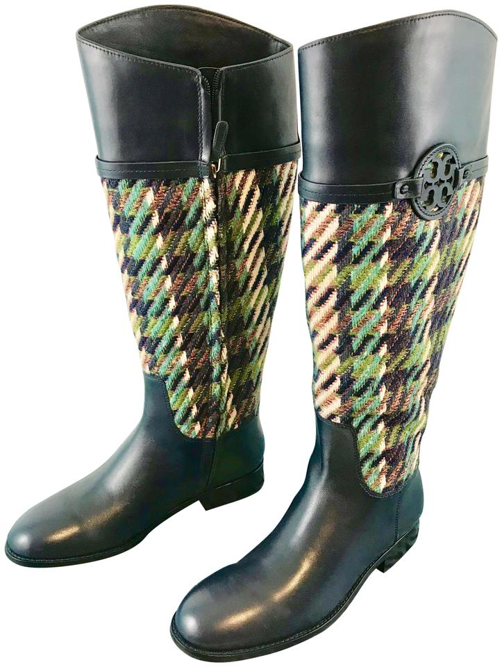 a7adec115e2 Tory Burch Bright Navy Green Dogtooth Miller Riding Tweed Boots Booties