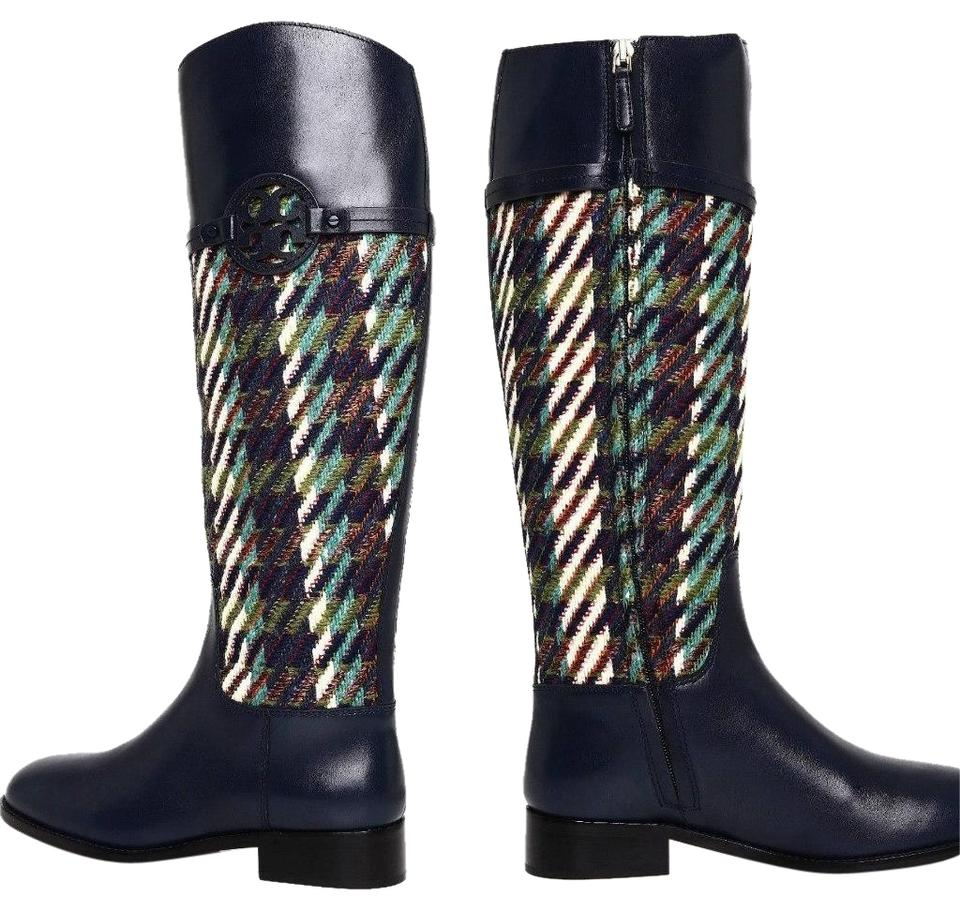 dfe4d7a6967 Tory Burch Leather Equestrian Tweed Bright Navy Green Dogtooth Boots Image  10. 1234567891011