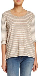 James Perse T Shirt Heathered Beige Stripe