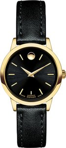Movado Movado Women's 1881 Automatic Black Dial Gold PVD Watch 0606925