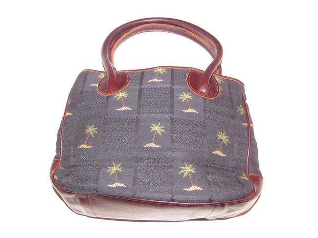 Item - Vintage Purses/Designer Purses Navy Blue Fabric with Palm Tree Design and Brown Leather Canvas Satchel