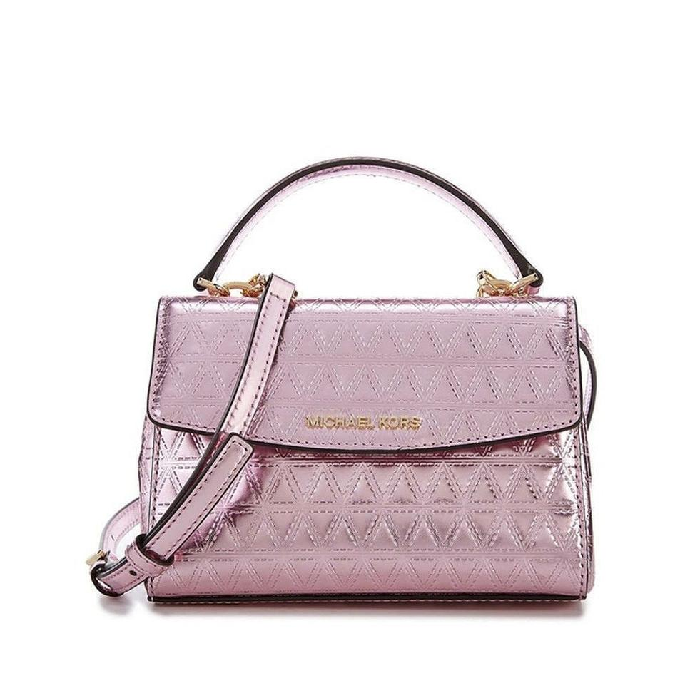 18c5daedc0f039 MICHAEL Michael Kors Ava Mirror Metallic Quilted Xs Extra Small Pink ...