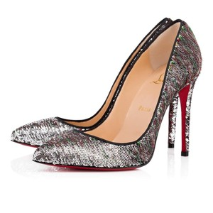 Christian Louboutin Pigalle Follies Stiletto Sequin Classic silver Pumps