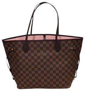 Louis Vuitton Ebene Damier Damier Canvas Tote in Brown and Rose