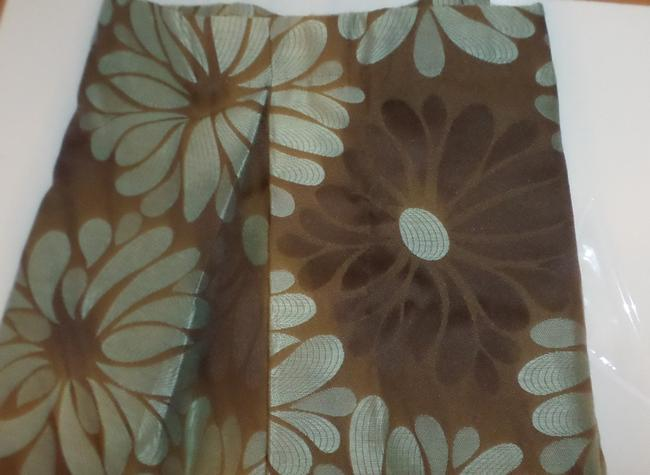 Item - Brown and Teal Valence Curtains Room Window Panel Other