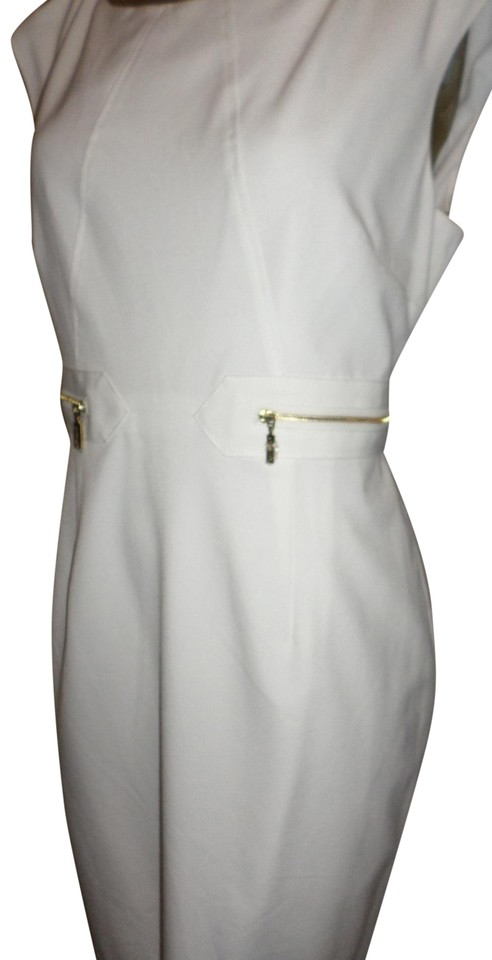 9feb0e7e0e4 Calvin Klein White Exposed Gold Zip-side Sleeveless Sheath Work Office Dress