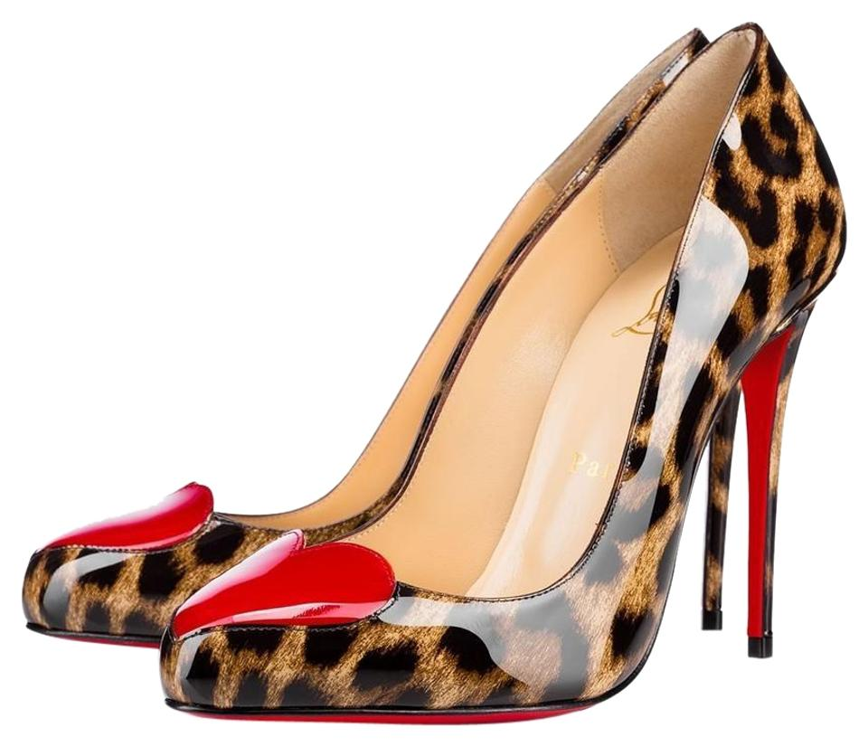 d8ad7220ed1 Christian Louboutin Black and Brown Classic Doracora Heart 100mm Patent  Leather Leopard Heels Pumps