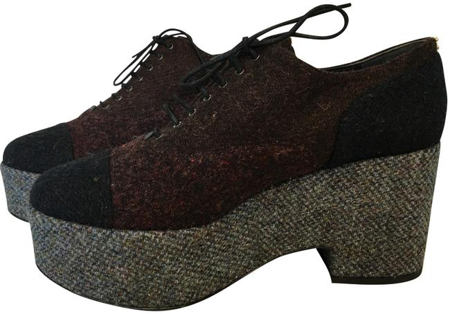 Item - Burgundy and Grey Classic Runway Two-tone Tweed Cc Lace Up Oxford Boots/Booties Size EU 42 (Approx. US 12) Regular (M, B)