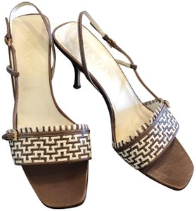Prada Made In Italy Woven Leather Brown Sandals