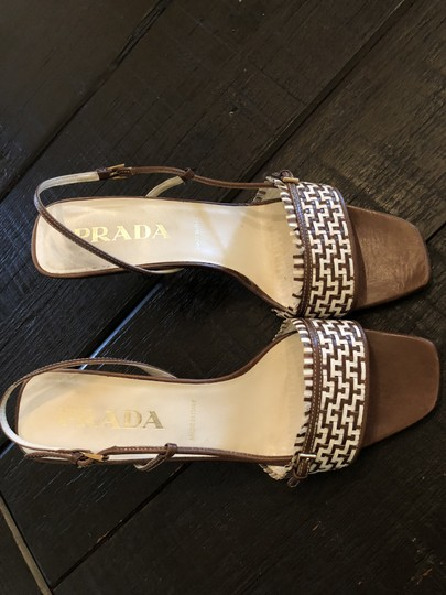 Prada Made In Italy Woven Leather Brown Sandals Image 1