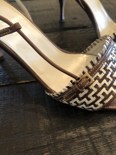 Prada Made In Italy Woven Leather Brown Sandals Image 2