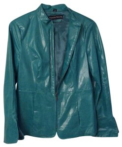 Pamela McCoy Deep Teal Leather Jacket