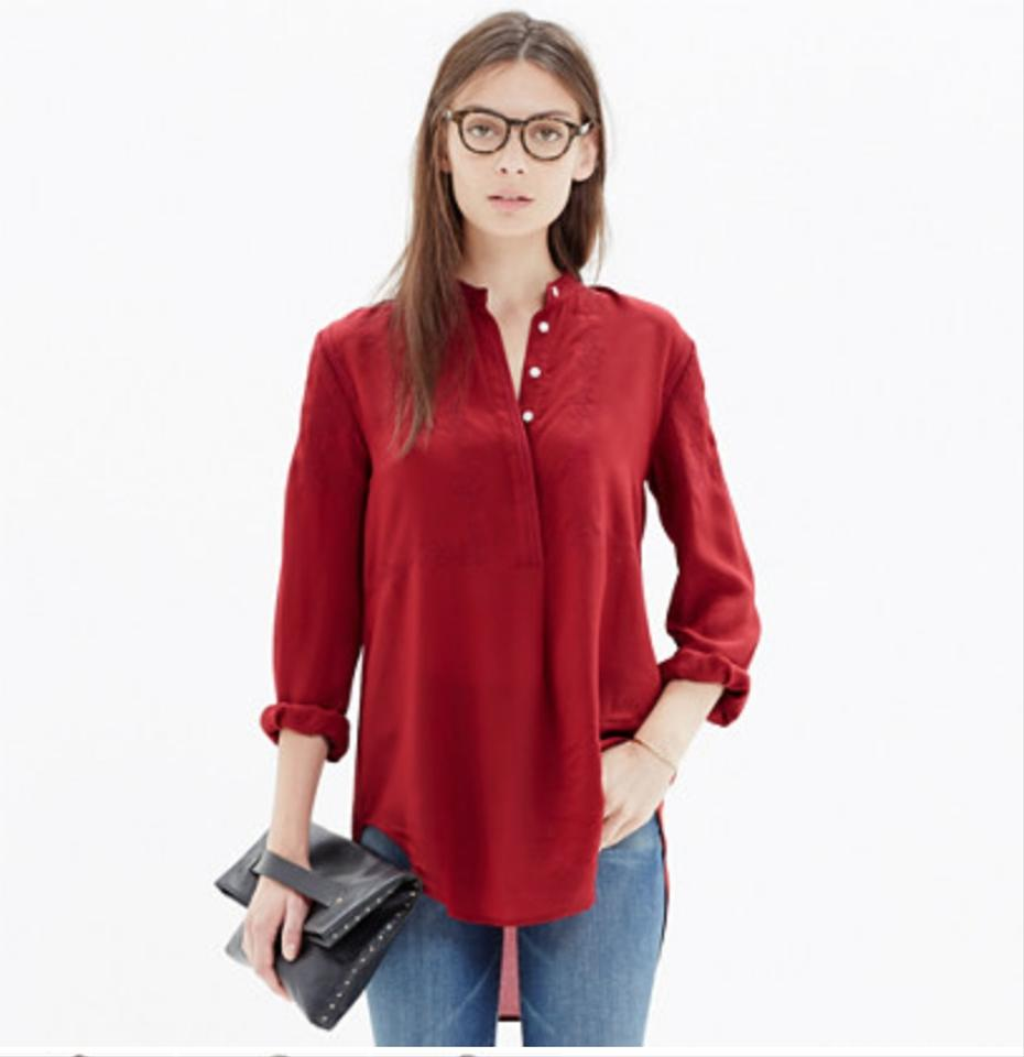 a3e143e6ace562 Madewell Red Embroidered Ballad Tunic Blouse Size 8 (M) - Tradesy