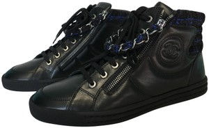 bd7be6612b39f Chanel Black and Navy Classic Chain Leather Zipper Cc Logo High-top ...