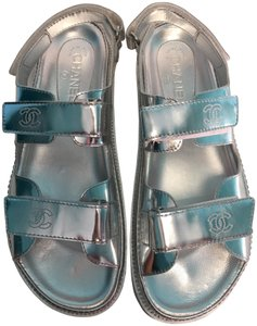 Chanel 41.5 Classic Silver Sandals