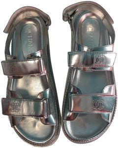 Chanel 39 Silver Sandals