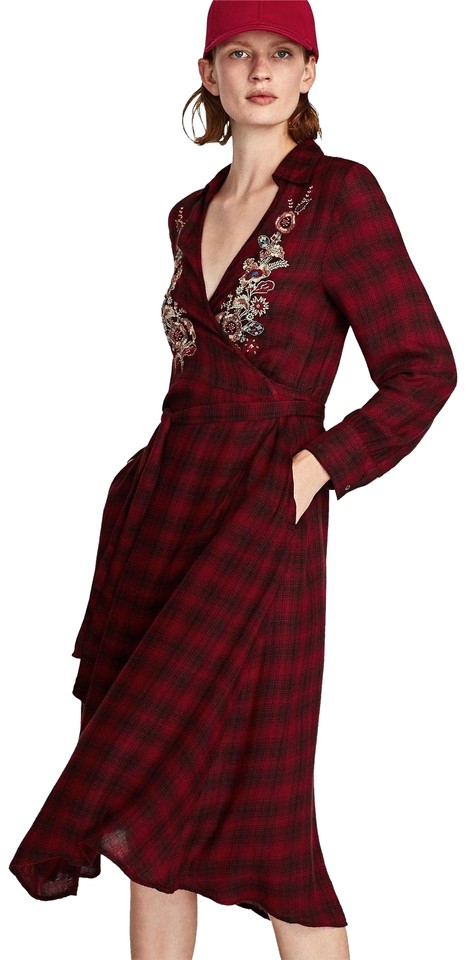 909bc243396 Zara Red Checkered Collared Floral Wrap Beaded Long Casual Maxi ...