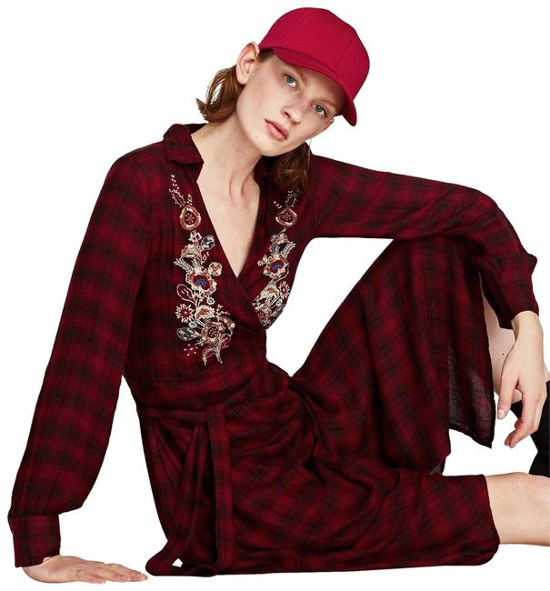 Zara Red Checkered Collared Floral Wrap Beaded Long Casual Maxi Dress Size 6 (S) Zara Red Checkered Collared Floral Wrap Beaded Long Casual Maxi Dress Size 6 (S) Image 1
