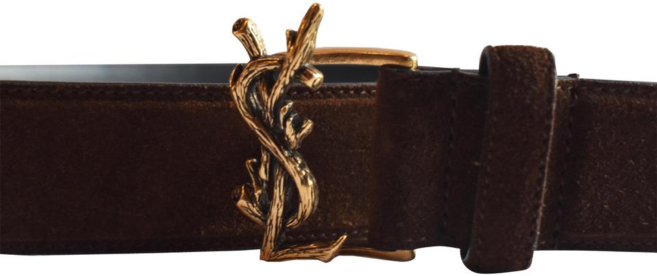 4da525fe7ff74 Saint Laurent Saint Laurent YSL Gold Buckle Logo Belt Brown Suede Unisex  Image 0 ...