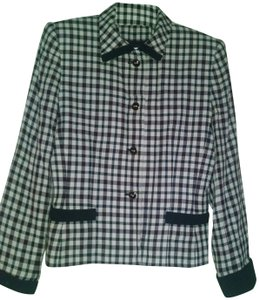 Kasper ASL Petite Professional Dryclean Only plaid - navy & white Blazer