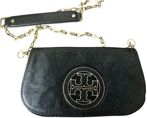 Tory Burch Snakeskin Leather Gold Hardware Classic Black Clutch