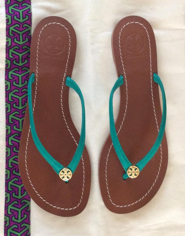 8fe6496483b8 Tory Burch Flip Flops Leather Flip Flops Thongs Bright Jungle (Green)  Sandals Image 7. 12345678
