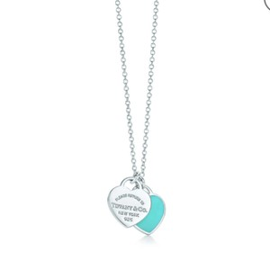 "Tiffany & Co. 20"" XL Blue enamel double heart tag necklace"
