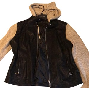 Black Rivet black leather with knit grey sleeves and hood Leather Jacket
