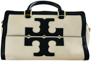 Tory Burch Leather Gold Hardware Structured Satchel in Black/Ivory