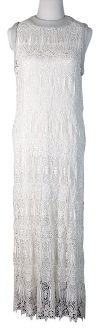 White Maxi Dress by Thomas Wylde Skull Crochet Lace Labskin Leather Floral Maxi