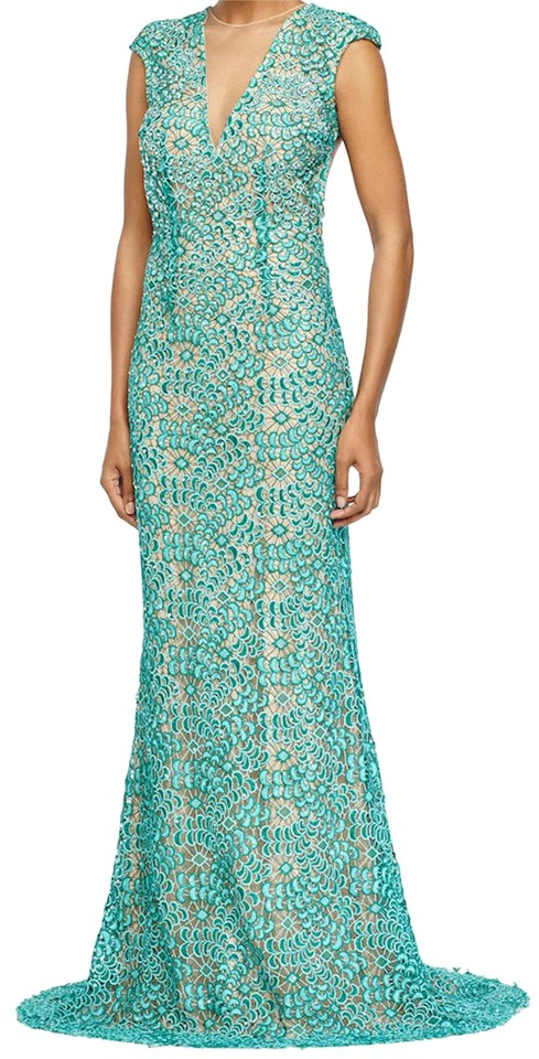 Jovani Teal/Nude Cap-sleeve Lace Open Back Gown Long Formal Dress ...