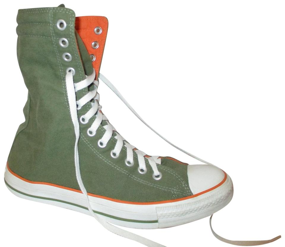 96869f8bd129 Converse Green   Orange Chuck Taylor All Star X High Tops Sneakers ...