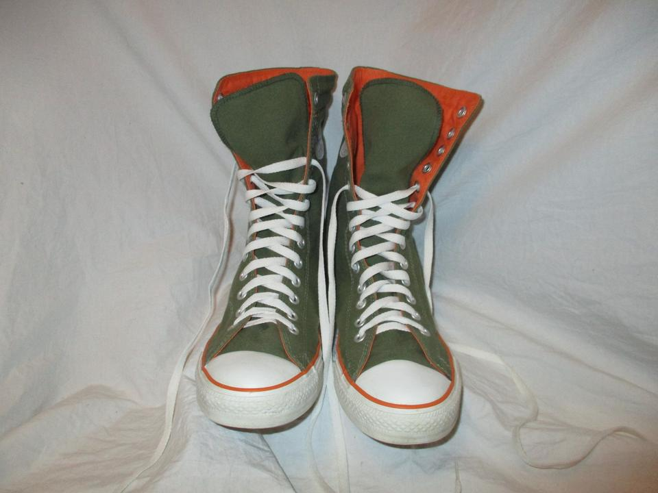 8d783c0662fa Converse Hi Tops Canvas green   orange Athletic Image 11. 123456789101112.  1 ∕ 12