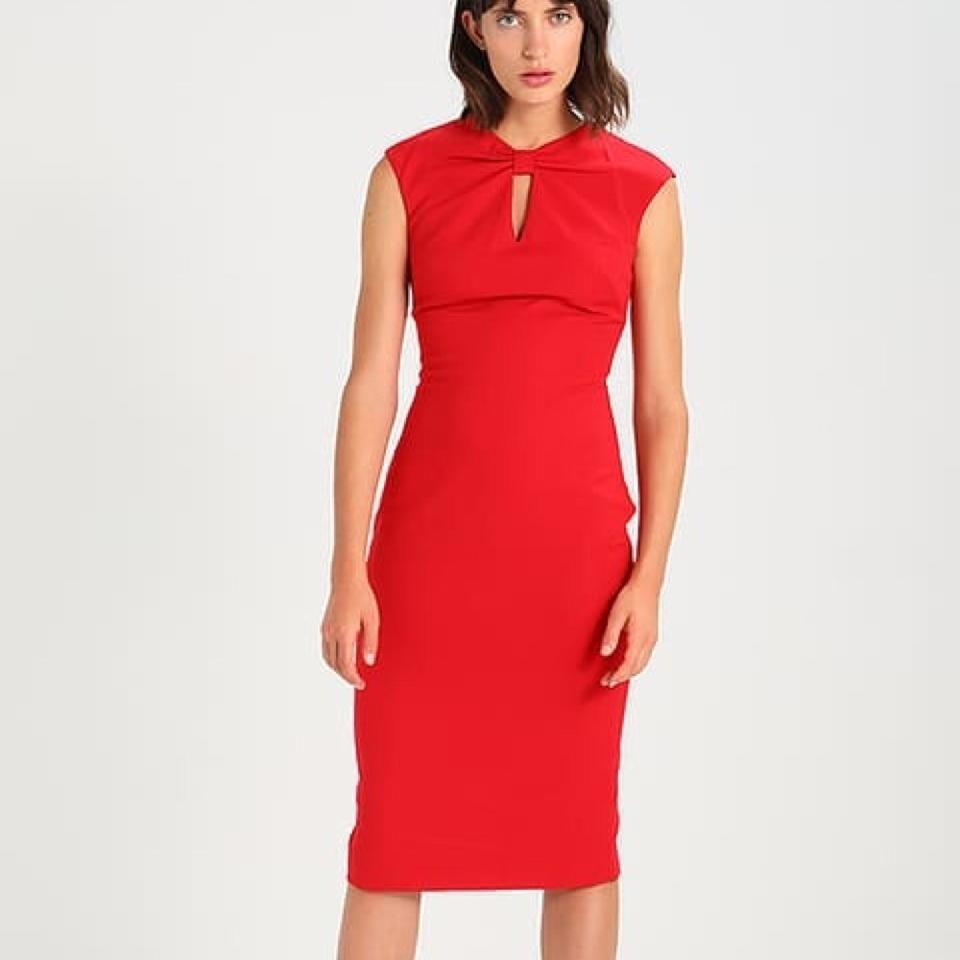 ff2198d18f44e5 Ted Baker Bright Red Kezzia Bow Neck Bodycon Mid-length Cocktail Dress Size  4 (S) - Tradesy