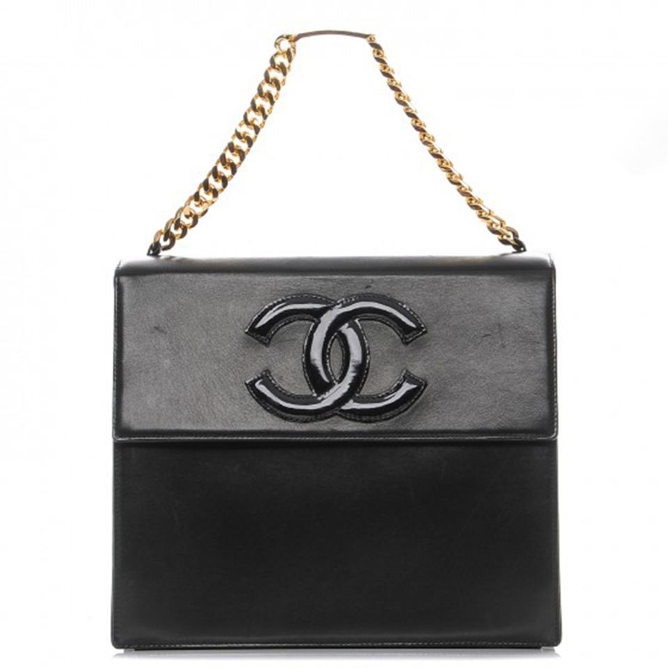 ef3fc3da726353 Chanel Classic Flap Vintage Patent Cc Black Lambskin Shoulder Bag ...