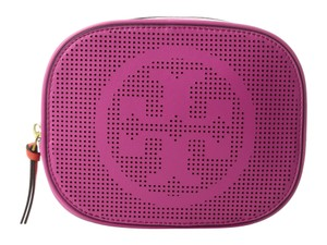 Tory Burch NEW TAGS TORY BURCH LEATHER LOGO COSMETIC MAKEUP CASE BAG TRAVEL PINK