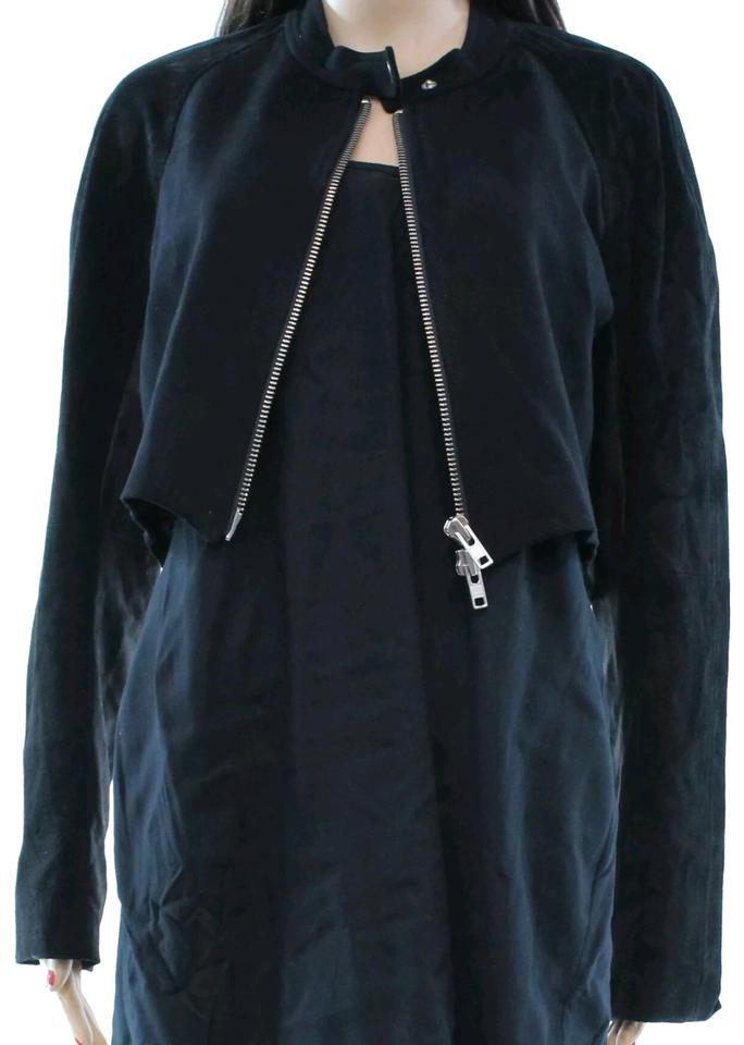 fc34b59f9b25 Theory Black Full Zip Cropped Suede Bomber Silver Jacket Size 12 (L ...