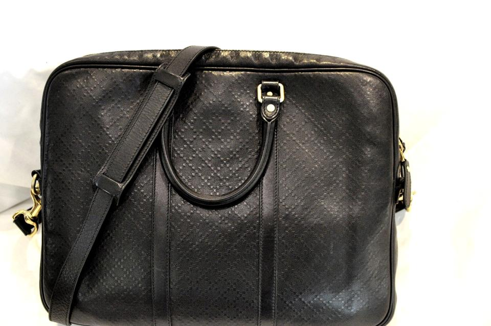 ee8d25680 Gucci Diamante Textured Briefcase Black Leather Laptop Bag - Tradesy