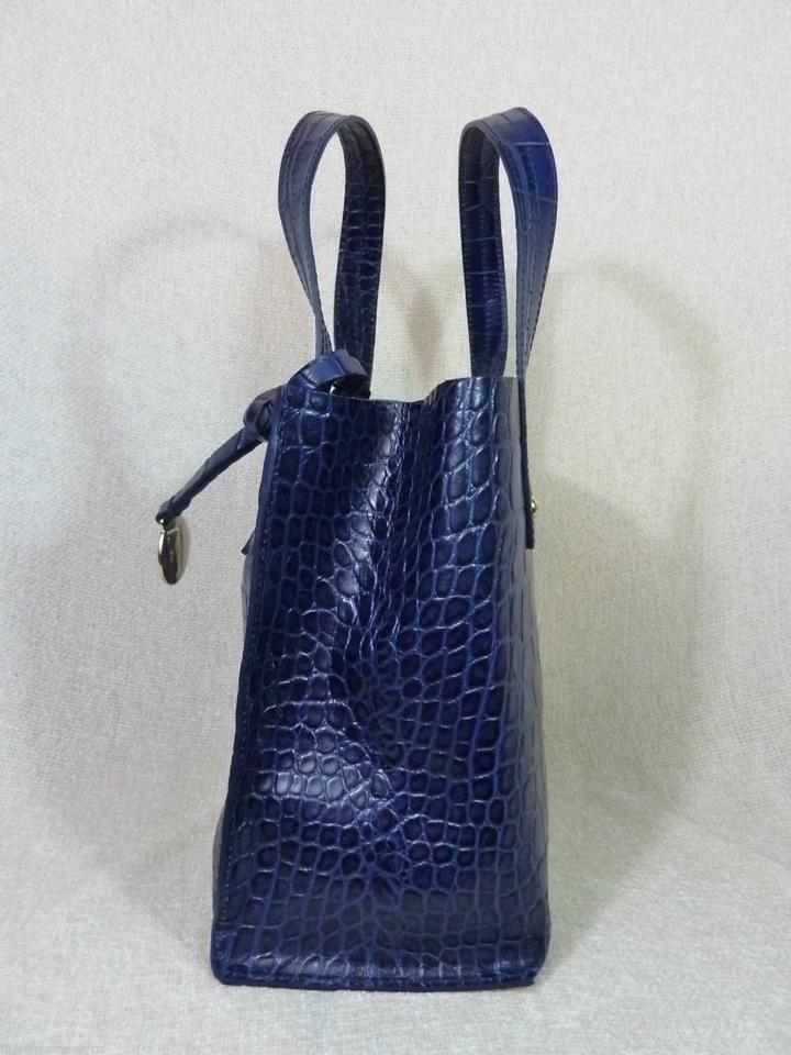 04c8f6c1a777 Furla Croc Small Musa Navy Blue Embossed Leather Tote - Tradesy