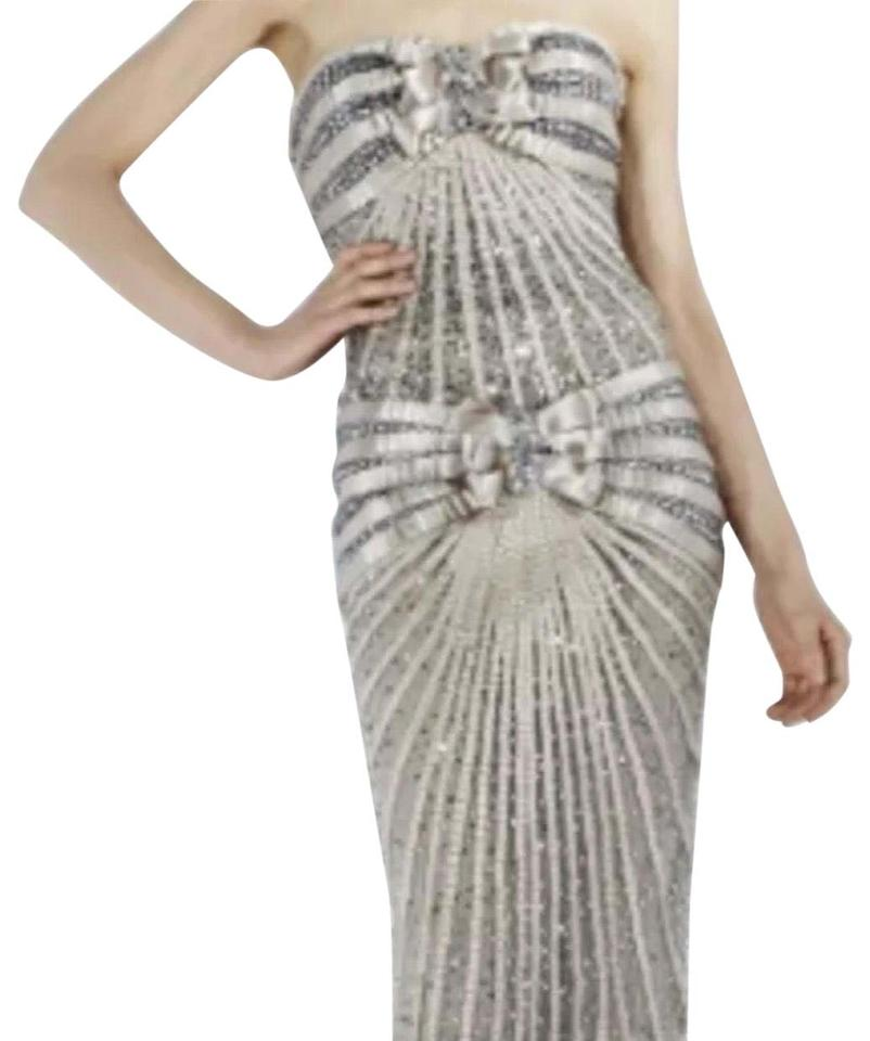 Zuhair Murad Silver Taupe Long Formal Dress Size 6 S Tradesy