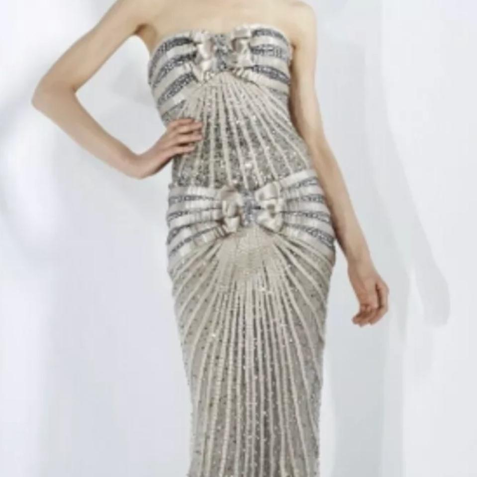 Zuhair Murad Silver Taupe Long Formal Dress Size 6 (S) - Tradesy