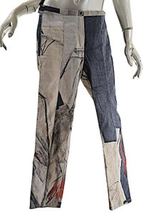 Annette Görtz Multi Color Abstract Cotton Linen Straight Pants Denim, tan, red, putty