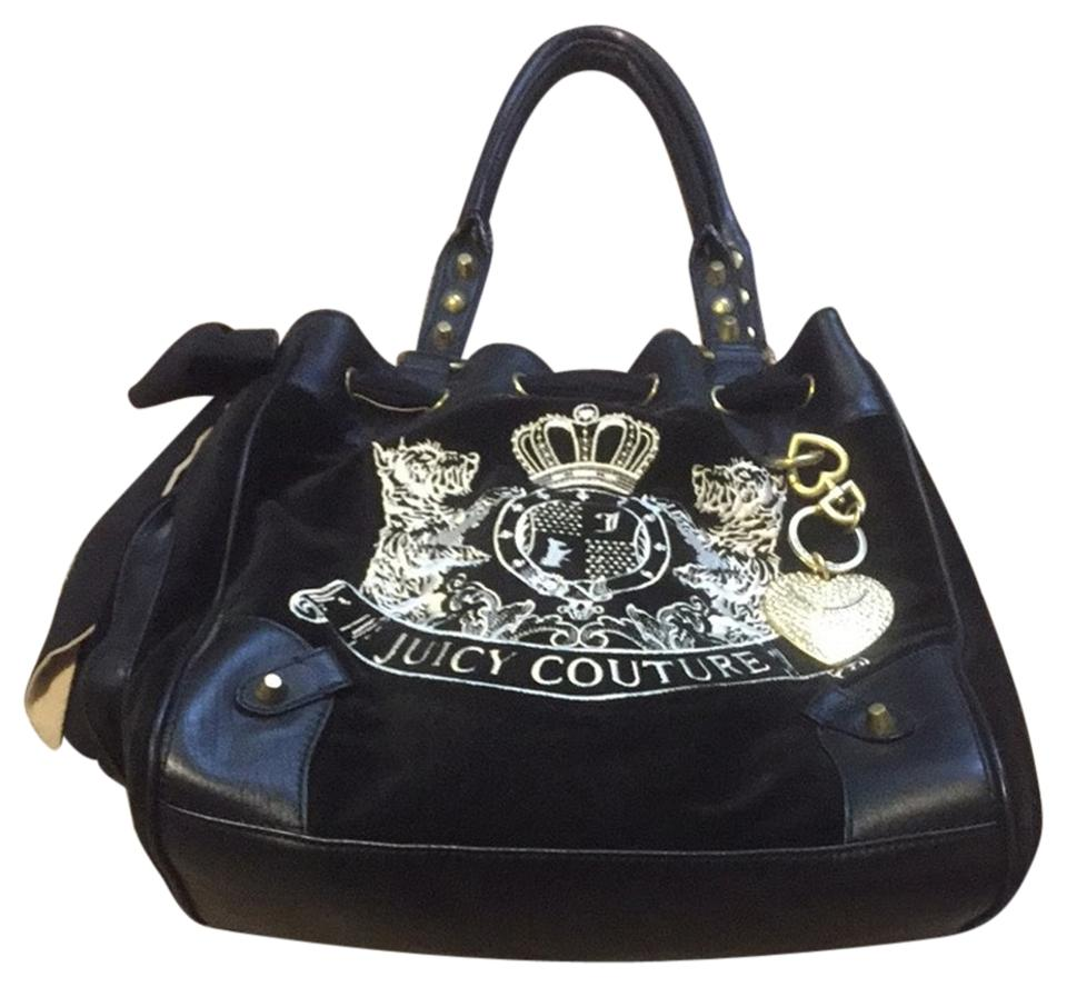 1830e0281b9 Juicy Couture Daydreamer Black Velvet and Leather Shoulder Bag 63% off  retail